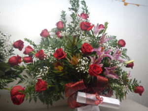 Medium rose and lily bouquet